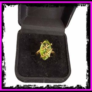 🆕 18K Gold Stamped S925 Peridot Dragonfly Ring